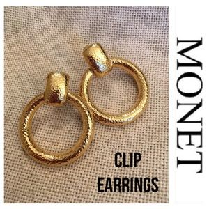 Vintage Monet Hammered Door Knocker Clip Earrings